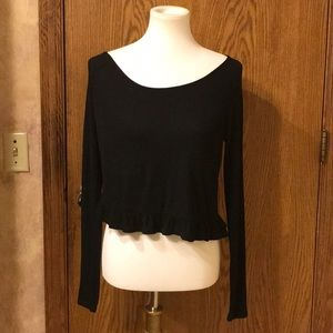 LA Hearts Black Ruffled Long Sleeve Crop Top